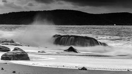 Splashy Seascape with Rocks in Black and White