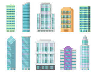 Vector office buildings isolate on white. Illustrations of modern skyscrapers Fotobehang
