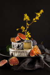 tasty camembert with fresh figs and honey with honeycombs, decorated on a plate on dark background, rustic, moody food photography