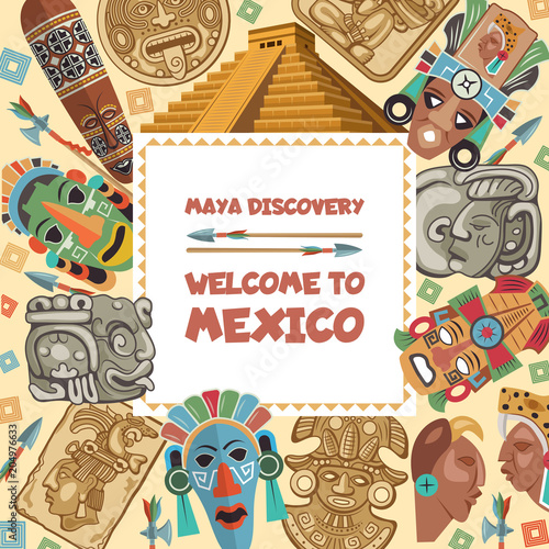 Vector Frame With Illustrations Of Various Tribal Mayan Symbols