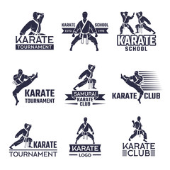 Sport labels set for fighting club. Karate and martial arts