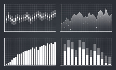 Creative vector illustration of business data financial charts. Finance diagram art design. Growing, falling market stock analysis graphics set. Concept graphic report element. Profit summary tools