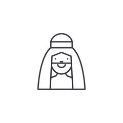 Arab man linear icon concept. Arab man line vector sign, symbol, illustration.
