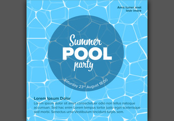 Pool Party Invitation Card Layout