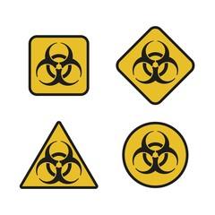 Vector illustration. Bio hazard icons set. Round, square, triangle signs of Biohazard set. Safe sign.