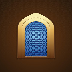 Mosque window with arabic pattern for greeting card and background. Islamic design. Islamic architecture. Vector illustration
