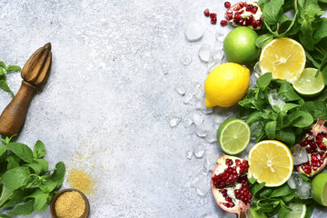 Food background with ingredients for making citrus lemonade.Top view with copy space.