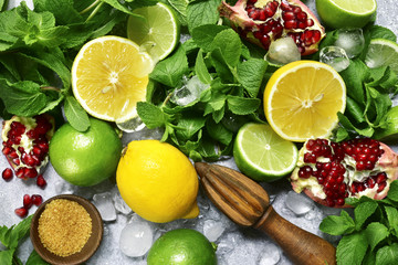 Food background with ingredients for making citrus lemonade.Top view .