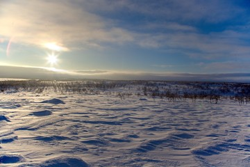 crosscountry skiing in northern lapland beautiful nature