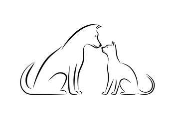 Silhouettes of domestic animals.