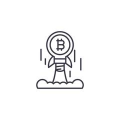 Bitcoin launch linear icon concept. Bitcoin launch line vector sign, symbol, illustration.