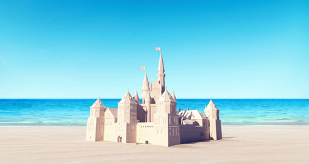 Castle made of sand on the beach summer background 3D Rendering