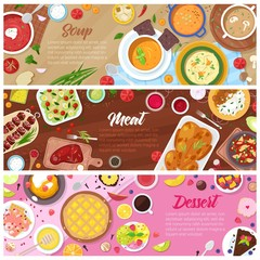 Food vector cooked meal soup meat and sweet dessert cake with fruits in restaurant menu illustration set of pea-soup in bowl and beefsteak on plate isolated on white background