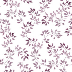 Seamless pattern - cute watercolor violet leaves