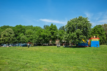 Fruska Gora, Serbia May 01, 2018: International Labor Day. People celebrate the holiday in the forest. This  is located for Fruska Gora and Andrevlje.