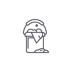 Bucket linear icon concept. Bucket line vector sign, symbol, illustration.