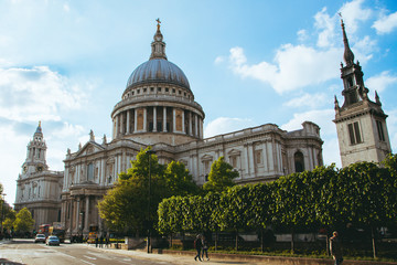 St Paul Cathedral view in London, UK. Beautiful summer day in the city.