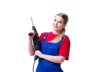 Young woman with power drill isolated on white