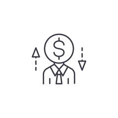 Businessman desicions linear icon concept. Businessman desicions line vector sign, symbol, illustration.