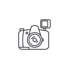 Camera linear icon concept. Camera line vector sign, symbol, illustration.