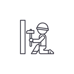 Carpenter with hammer linear icon concept. Carpenter with hammer line vector sign, symbol, illustration.