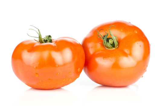 Two red tomato with vine ends isolated on white background fresh whole.