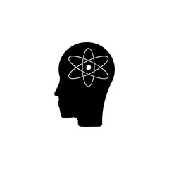atoms in the head icon. Element of science for mobile concept and web apps. Detailed atoms in the head icon can be used for web and mobile. Premium icon