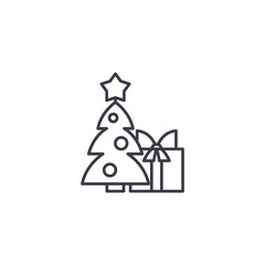 Christmas tree linear icon concept. Christmas tree line vector sign, symbol, illustration.