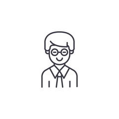 Clerk linear icon concept. Clerk line vector sign, symbol, illustration.