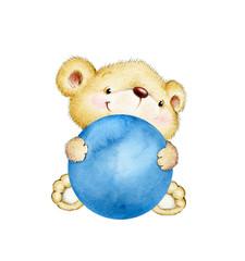 Teddy bear holding blue ball
