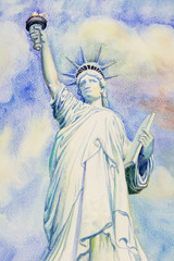 Watercolor painting The Statue of Liberty.