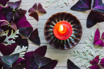 Red Candle with Dusty Miller and False Shamrock