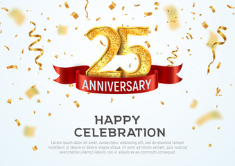25 years anniversary vector banner template. Twenty five year jubilee with red ribbon and confetti on white background