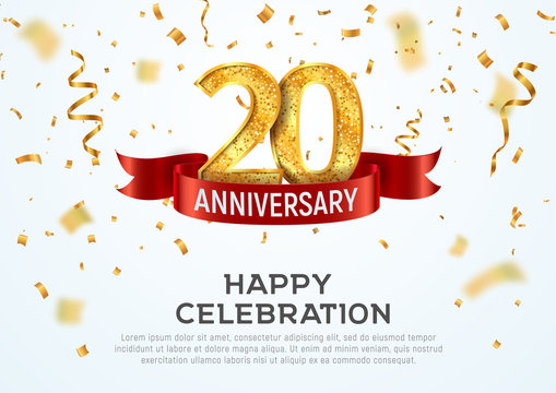 20 years anniversary vector banner template. Twentieth year jubilee with red ribbon and confetti on white background