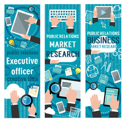 Public relations banner for social media marketing