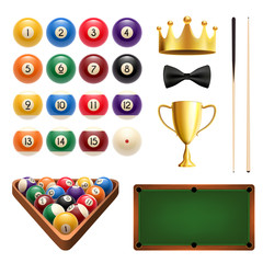 Billiards sport 3d icon with ball, cue and table