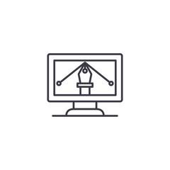 Computer graphic design linear icon concept. Computer graphic design line vector sign, symbol, illustration.