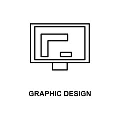 graphic design in monitor icon. Element of simple web icon with name for mobile concept and web apps. Thin line graphic design in monitor icon can be used for web and mobile