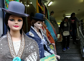 Mannequins display clothes in the fashion of of the Cholitas (Andean Women) in La Paz, Bolivia