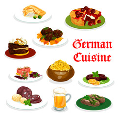 German cuisine dinner icon with traditional food