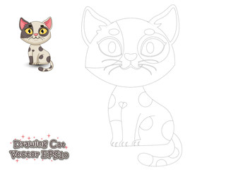 Drawing and Paint Cute Cartoon Cat. Educational Game for Kids. Vector Illustration.