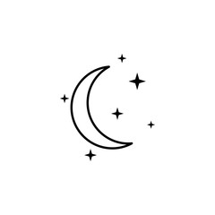 crescent moon and stars icon. Element of travel icon for mobile concept and web apps. Thin line crescent moon and stars icon can be used for web and mobile. Premium icon