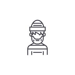 Criminal linear icon concept. Criminal line vector sign, symbol, illustration.