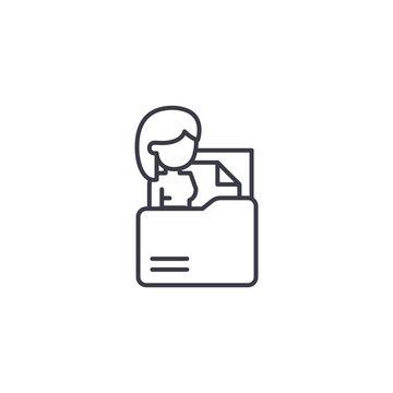Curriculum vitae linear icon concept. Curriculum vitae line vector sign, symbol, illustration.