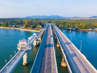 Aerial view of Sarasin Bridge, The bridge is a between Phang Nga and Phuket