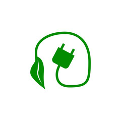 electric plug and plant green icon. Element of nature protection icon for mobile concept and web apps. Isolated electric plug and plant icon can be used for web and mobile