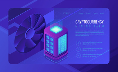 Isometric mining farm landing page concept. Blockchain server mining farm, cryptocurrency mining concept. Rack server and GPU cooler on ultraviolet background. Vector 3d isometric illustration