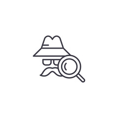 Detective linear icon concept. Detective line vector sign, symbol, illustration.
