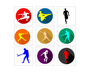 sport man silhouette image vector icon logo set