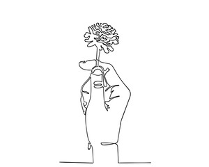 Continuous line drawing of hand holding dry flower.